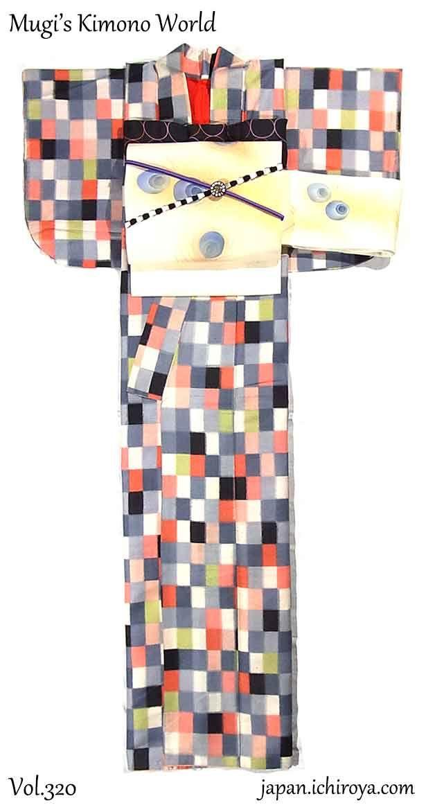 Welcome to Mugi's Kimono World ! — 小粋なモダンレトロ ~ カラフル格子に孔雀の羽 ~ カラフル格子模様のアンティーク銘仙...