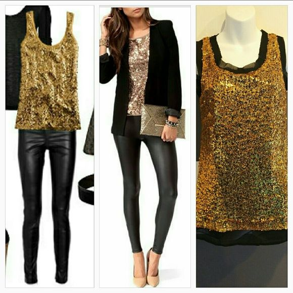 "Gold Sequins Party top!!! (New) It's Party time and this top says ""Party"" all over it!! Gold sequins cover this top. Neckline, sleeve caps and bottom has a sheer black material. Pair this fabulous top with our black leggings!!   Brand new Size large Length approximately 28"" Bust seam to seam approx 19"" Scoop neckline, Sheer black lining, Gold sequin material on top 100% polyester  ******also available in medium******* Tops"