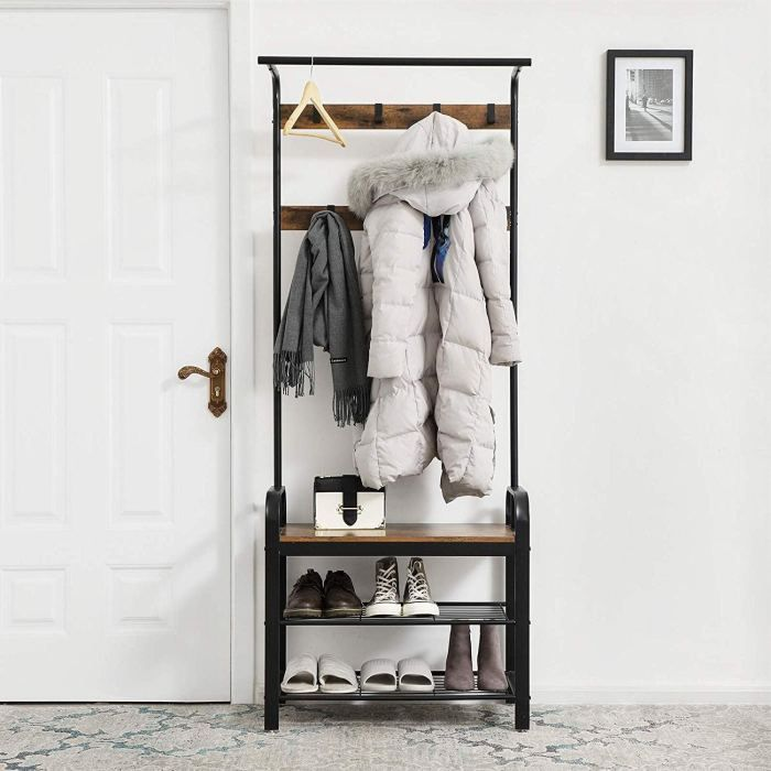 Review Songmics Vintage Coat Rack Shoe Bench Vintage Coat Rack Coat Rack Shoe Bench Entryway Storage Shelf
