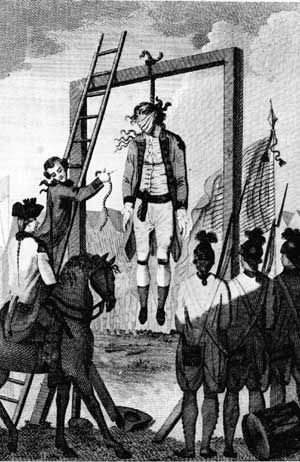 The hanging of the British officer, Major Andre,   for negotiating the treachery of Benedict Arnold