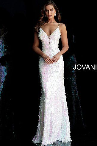 5b77a7488c jovani Ivory Fitted Spaghetti Straps Paillette Prom Dress 65455 ...