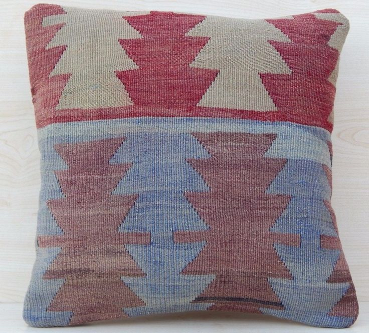16x16'' Vintage Turkish Handmade Faded Pale Color Square Kilim Rug Pillow Cover #Handmade #AsianOriental