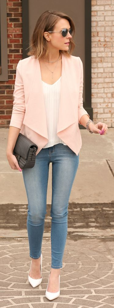 Blush Pink Open Front Blazer White Top Light Wash Skinny Jeans