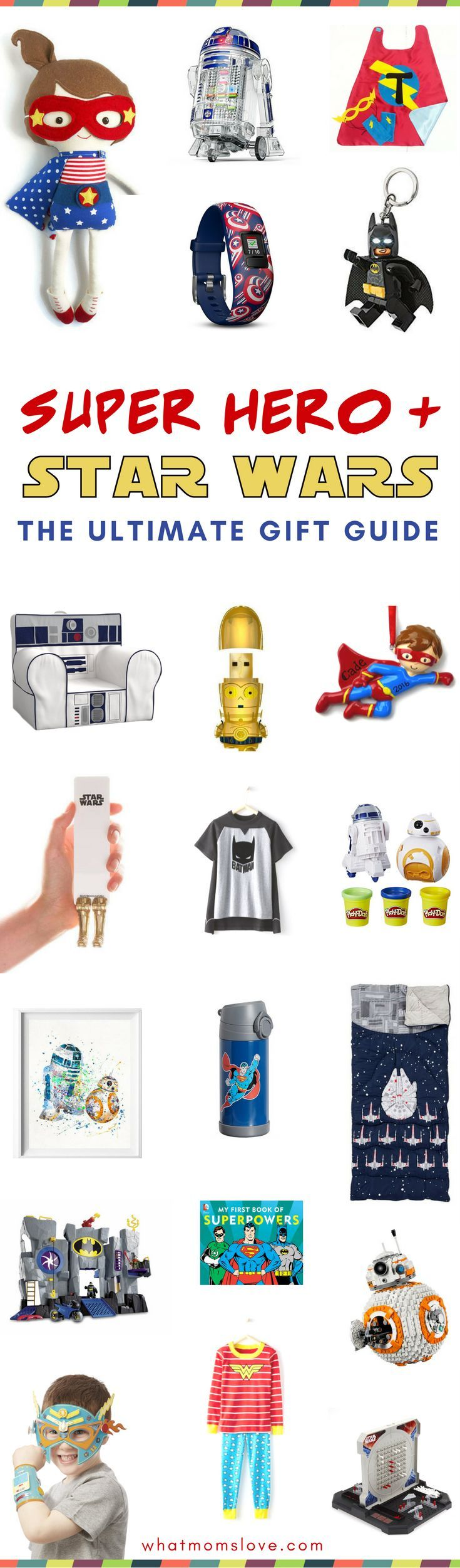 Unique gift ideas for kids who love super heroes or Star Wars   Best gifts for boys and girls including awesome toys, books, clothing, artwork and room decor!