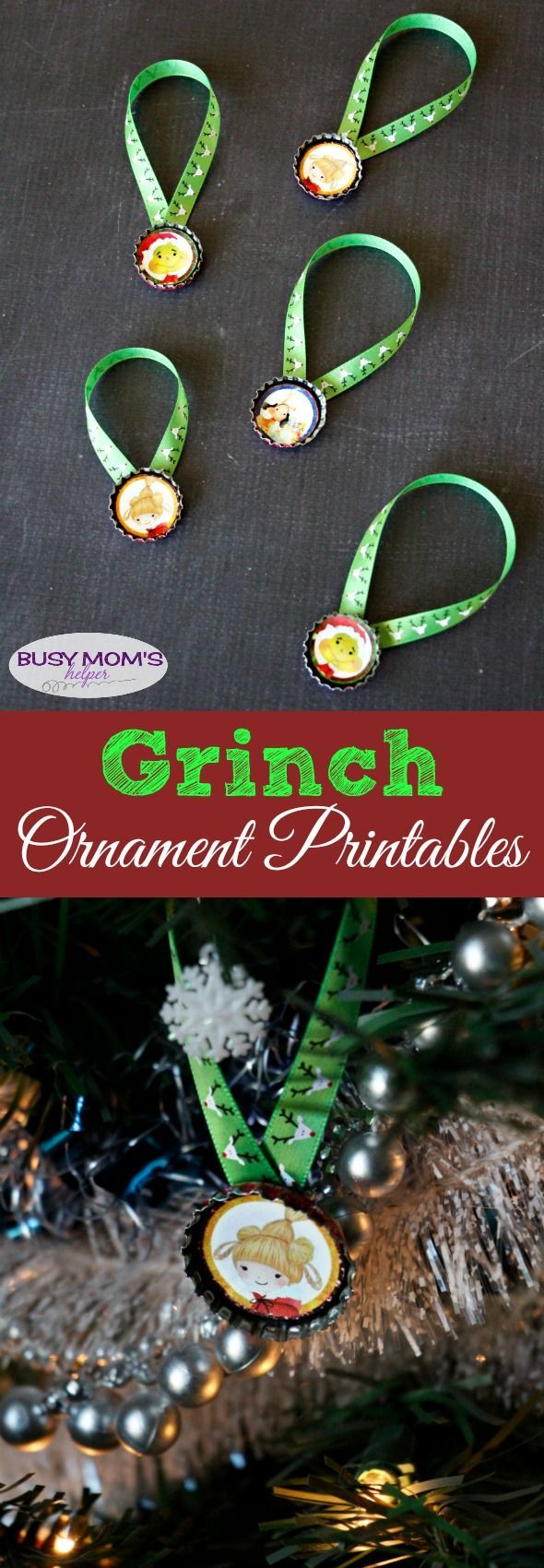 Grinch outdoor christmas decorations - Bottle Cap Grinch Ornament Printables