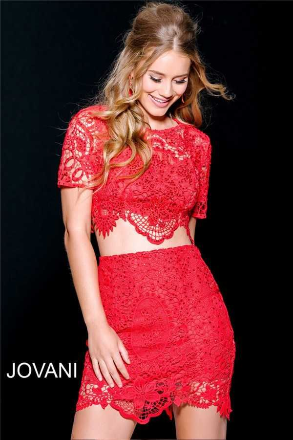 High Neck Short Red Lace Jovani 42441 2 Piece Homecoming Dresses 2017