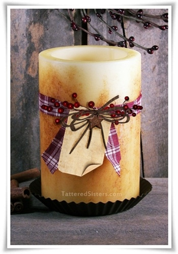 Primitive Candle Shade with Pip Berries | Tattered Sisters Primitives