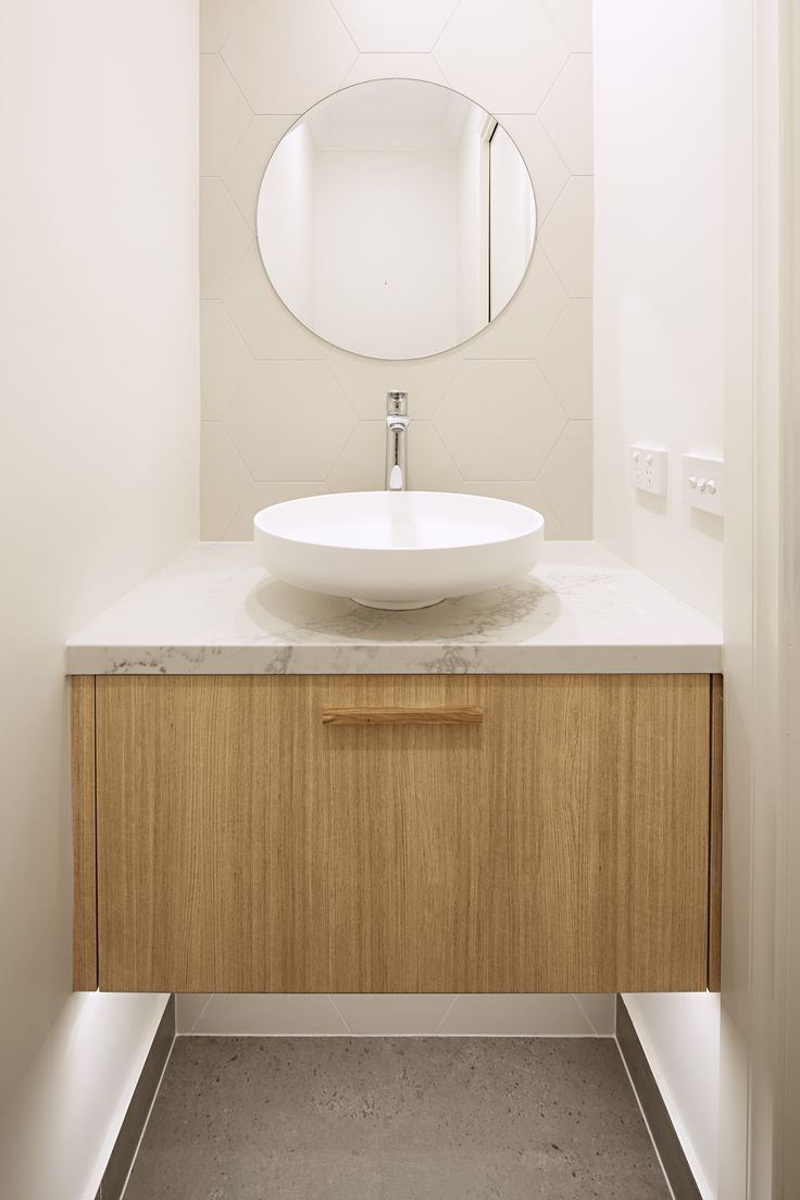 Cosy powder room timber vanity by Smarter Bathrooms
