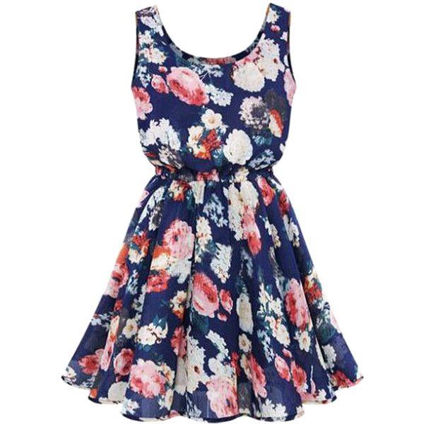 Choies Blue Floral Print Vest Skater Dress (18 CAD) ❤ liked on Polyvore featuring dresses, vestidos, robe, blue, multi, floral printed dress, floral skater dress, botanical dress, floral print dress and flower pattern dress