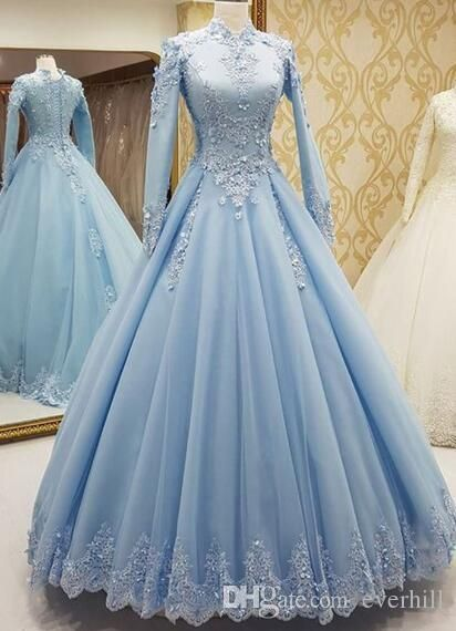 2018 Sky Blue Muslim Evening Dresses Long Sleeve High Neck Elegant A-Line  Tulle Arabic Long Formal Dress With Lace Appliques Dubai Robe Gown b73e54cce4a4