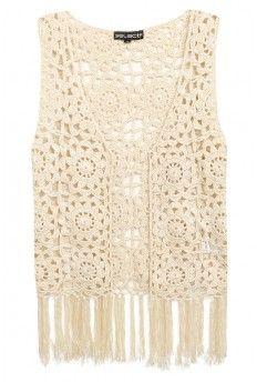 Stone Crochet Tassel Waistcoat
