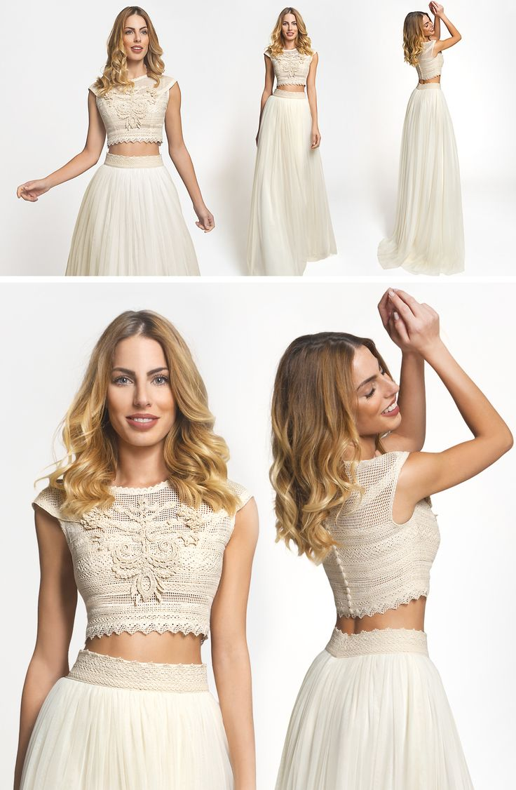 The vintage charm of the Hera dress is chosen by bohemian brides who want to have it their way. Crop top is a trend!