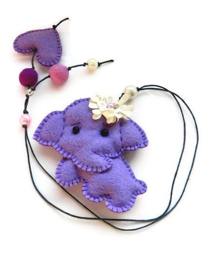 Felt bookmark with a lilac elephant / felt toy/  gift by Marywool, $13.00