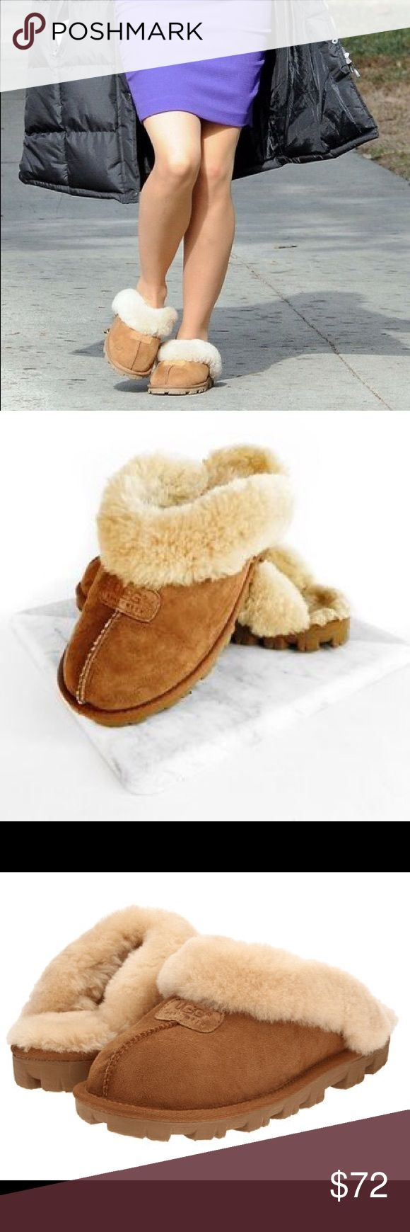 UGG Coquette UGG Coquettes are crafted of 17mm grade A Twinface with a sheepskin cuff for additional warmth. Easy slip-on style. Luxurious shearling lining for comfort and warmth.Genuine sheepskin sockliner wicks moisture away and allows air to circulate, keeping feet dry. Blown EVA molded outsole. Only worn once😁 UGG Shoes Slippers