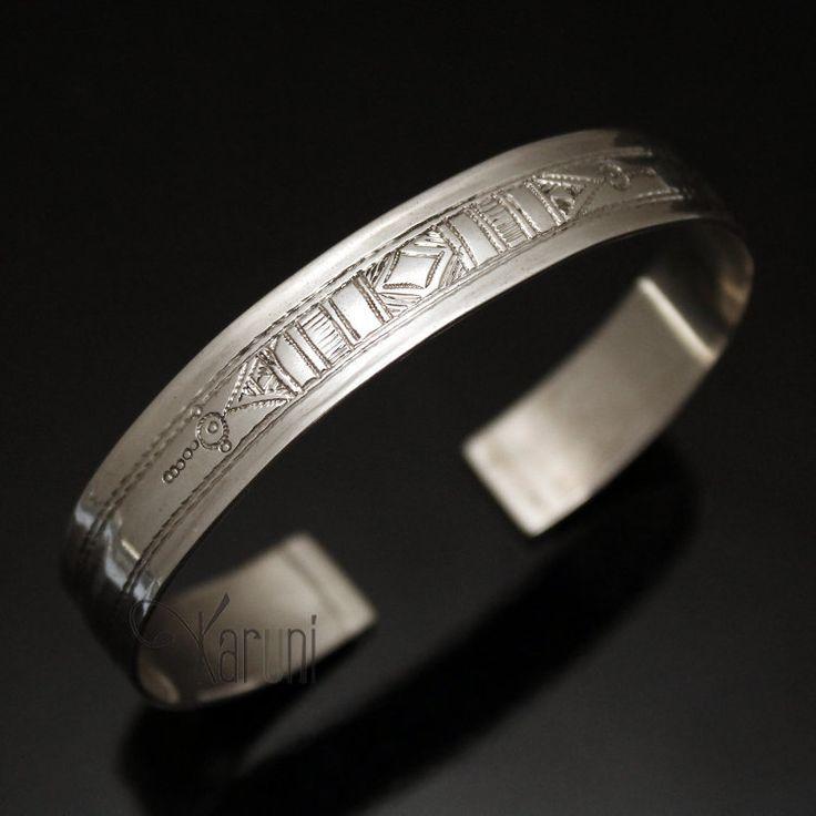 Bijoux Touareg Ethniques Bracelet en argent Large Plat Ruban Gravé Homme/Femme 01