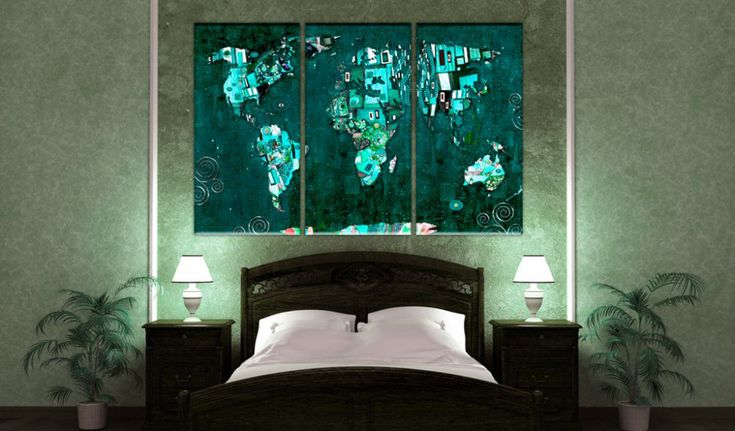 Obraz na korku - Emerald World #mapart #domov #decor #korek #design #travel #pin #wall #corkboardideas #style