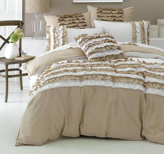 Deco Osmond Quilt Cover Set Range Linen and White