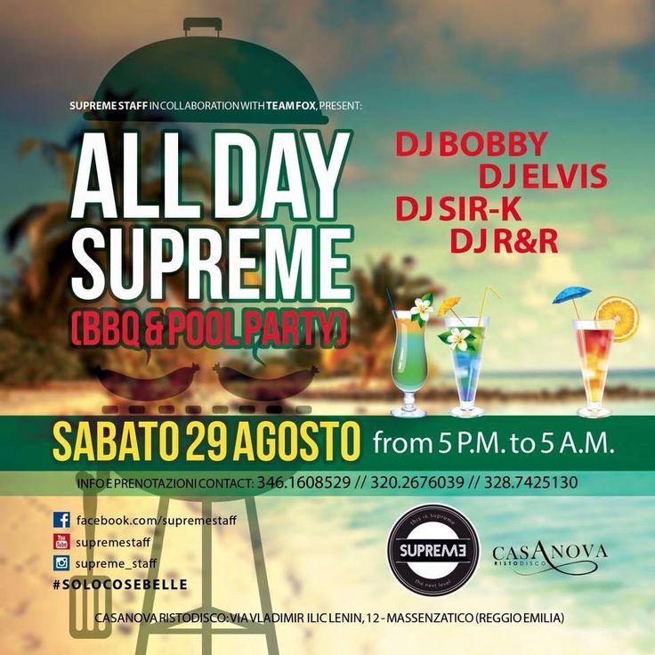 #alldaysupreme #supremestaff #solocosebelle #bbq #poolparty #closingsummerparty #dimitrimazzoni domenica 30.8.15