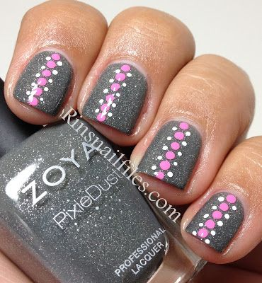gray nails with pink and white dots - so cute :)