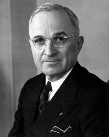 Harry S Truman, a member of the Democratic Party, took office as the 33rd President of the United States on April 12, 1945 at age 60. Truman served in office for 7 years 41 weeks and left at the end of his second term. He was born in Lamar, Missouri and received an education from William Chrisman High School.