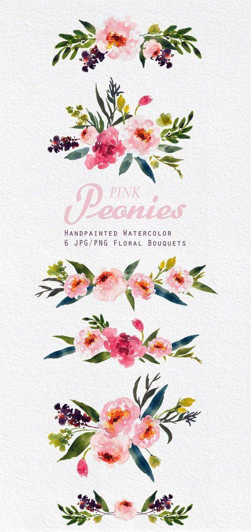 Aquarell Blumen Clipart. Handmade, Aquarell Clipart, Hochzeit diy Elemente, Blumen – Rosa Pfingstrosen