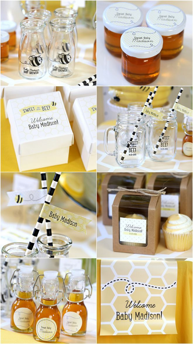 Bumble Bee Baby Shower Favor and Decorating Ideas, #glassfavorjars #personalizedfavors #honeyfavors #straws #beehivecandle and much more