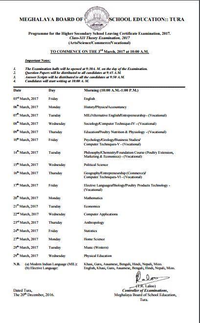 Meghalaya Board 12th Class Time Table 2017, MBOSE Board HSSLC Exam Programme 2017 Download Meghalaya Board 12th Class Time Table 2017, MBOSE Board HSSLC Exam Programme 2017 Download, Meghalaya 12th…