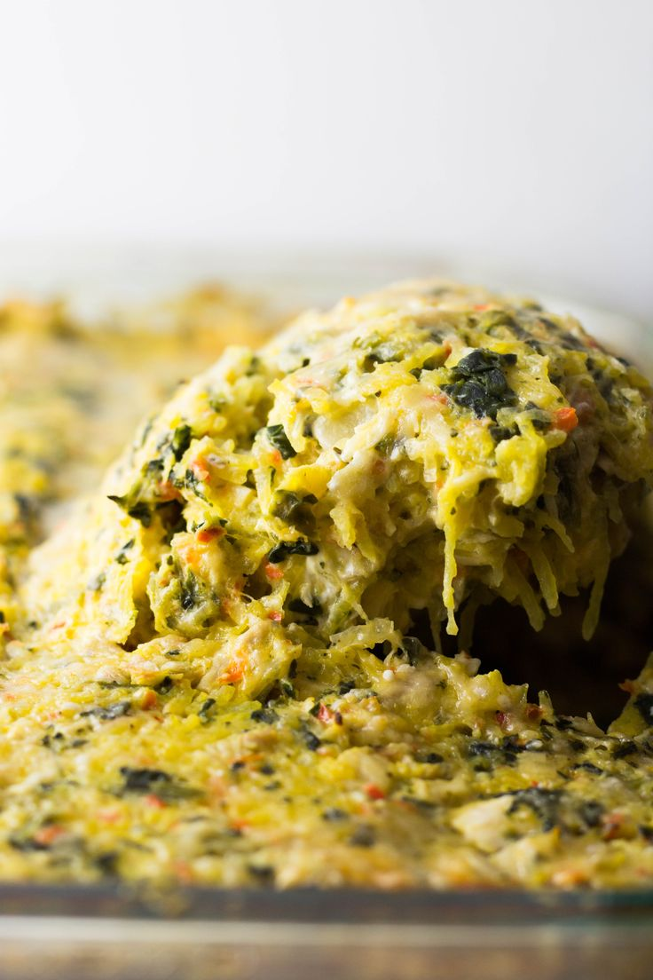 Spaghetti Squash Artichoke Bake | Lacquered Ladle | #spaghettisquash, #spaghetti, #spaghettibake, #bake, #casserole, #spaghetticasserole, #spaghettisquashcasserole, #rotisseriechicken, #leftoverchicken, #leftovers, #leftoverchicken, #bellpepper, #artichoke, #artichokebake, #marinatedartichoke, #artichokes, #marinatedartichokes, #spinach, #frozenspinach, #creamcheese, #cheese, #parmesancheese, #parmesan, #basil, #oregano, #easyleftovers, #easydinner, #weeknightdinner,