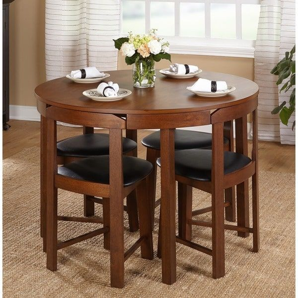Mid-Century Tobey Walnut Compact Dining Set Piece) in Black Faux Leather  Upholstered Seats. Angled Chairs Fit Seamlessly to Edge of Table.