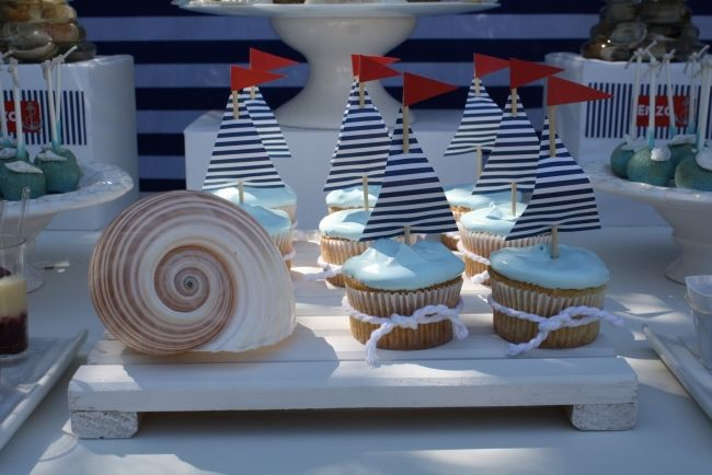 Nautical Party Cupcakes -- simple idea to decorate plain cupcakes with nautical theme