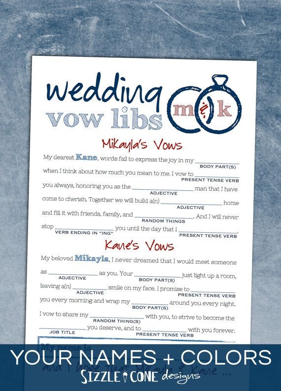 """Wedding Vows Madlibs - Hilariously fun printable bridal shower or rehearsal dinner game! Matching table sign and """"how to play"""" cards available too. Check out the complete collection, and get ready to laugh hysterically!!"""
