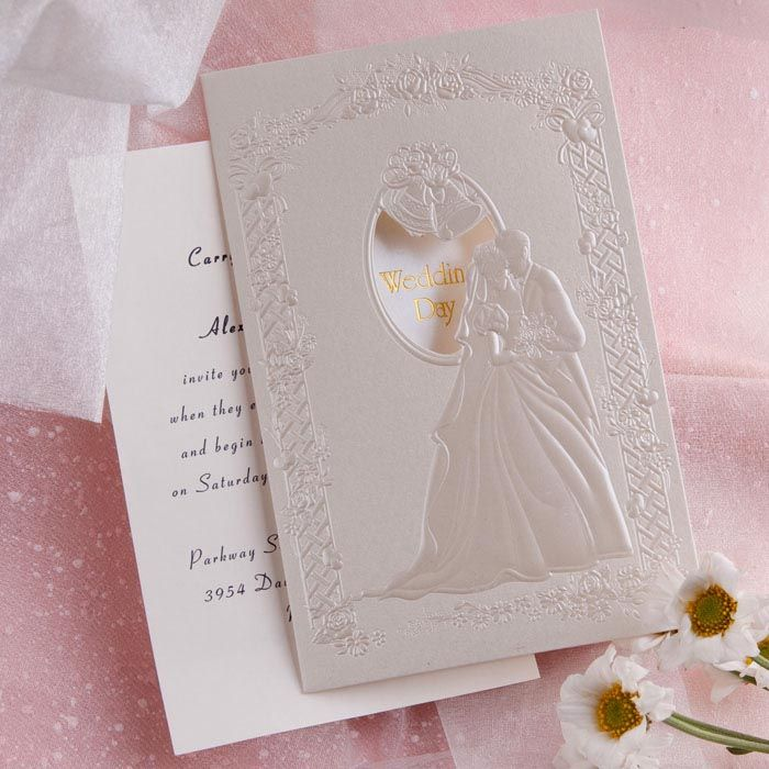 how to address couples on wedding invitations%0A Romantic Couple in Wedding Folded Wedding Invitations IWZD     Wedding  Invitations Online  InvitesWeddings com