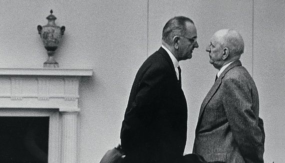 President Johnson confronts Senator Richard Russell, the leader of the filibuster against the civil-rights bill. Photo by: Yoichi Okamoto/National Archives
