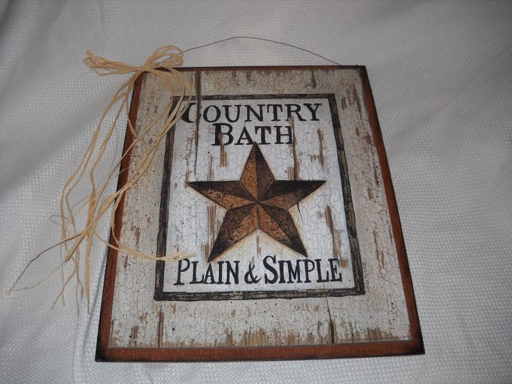 Barn Star Country Bath Sign Plain And Simple Outhouse