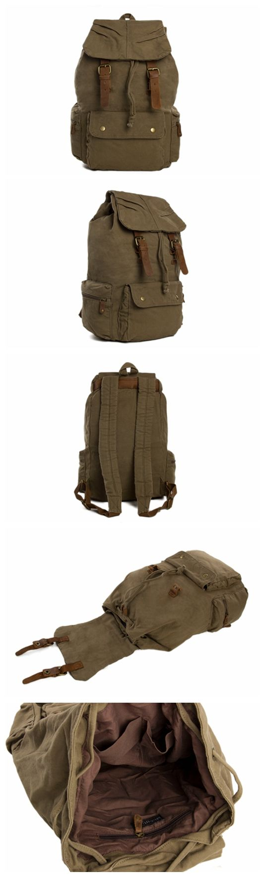 Army Green Waxed Canvas Backpack, School Backpack, Travel Backpack
