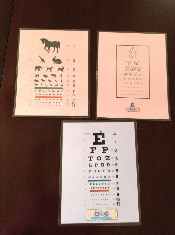 Doc McStuffins DIY eye charts.  There are a variety of printable eye charts on the web.  Print on colour paper then laminate.