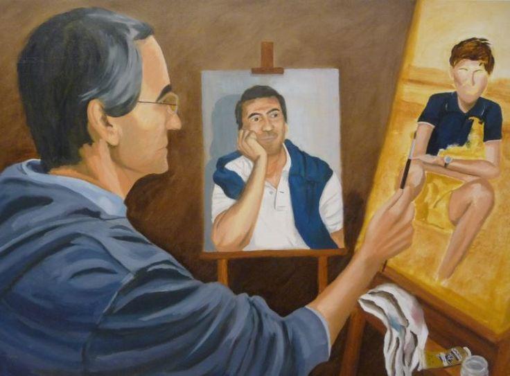Auto retrato - O autor olha para o espelho, vê-se mais novo e pinta-se ainda mais novo. Junho de 2014 - trabalho realizado para as aulas de pintura. Oleo sobre tela.