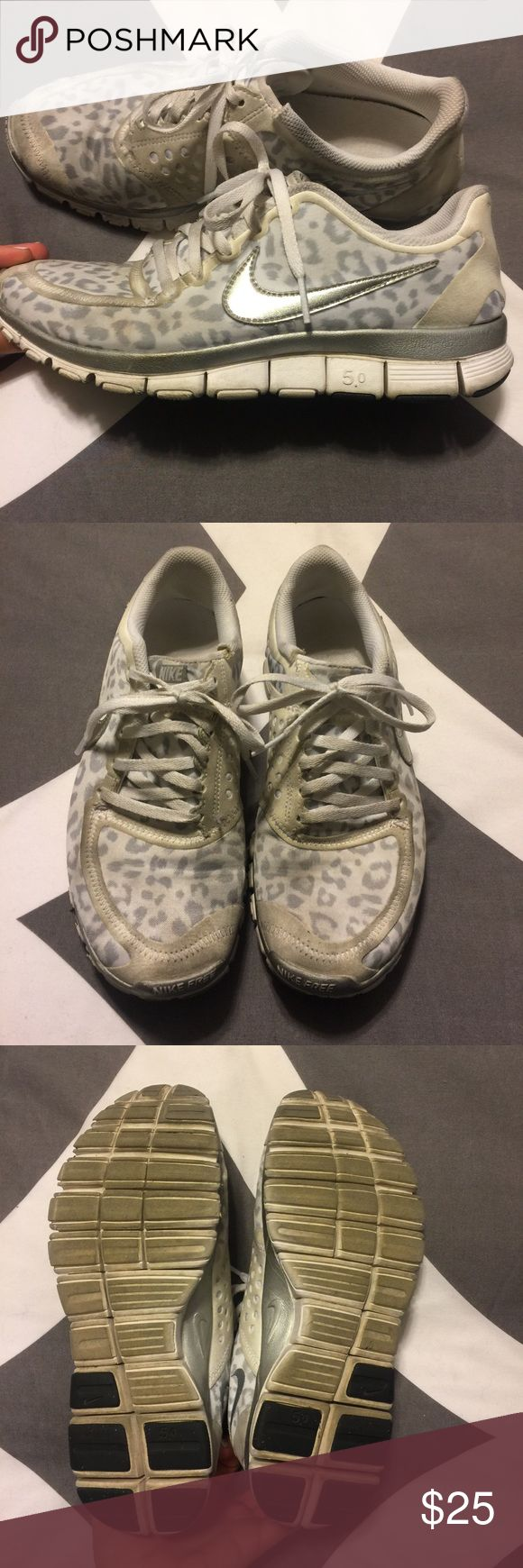 White Leopard Nike Free 5.0 V4 Size 8.5 Worn but still in very wearable condition! Nike Shoes Athletic Shoes