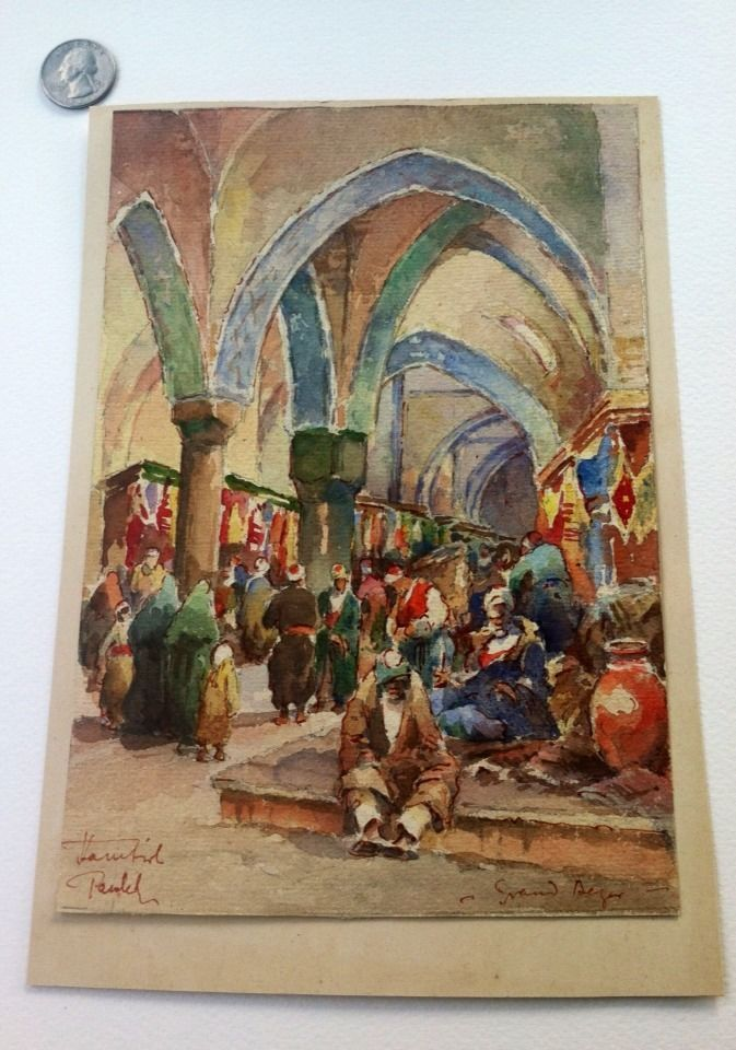"""Rare Vintage Watercolor """"The Grand Bazaar"""" Islamic Image Signed #Realism"""