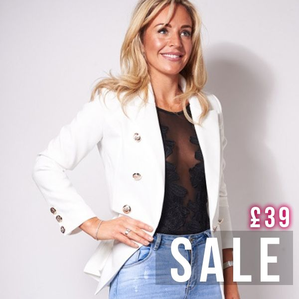 SLASHED Double breasted white blazer now just £39 in our sale down from £75! https://www.havetolove.com/collections/sale/products/kimmy-white-double-breasted-blazer #sale #blazer #NEfollowers #style