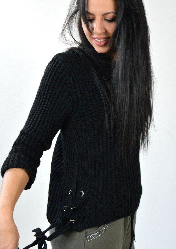 Μπλούζα Πλεκτή με Δεσίματα στα Πλαϊνά - ΜΑΥΡΟ | shop online: www.musitsa.com