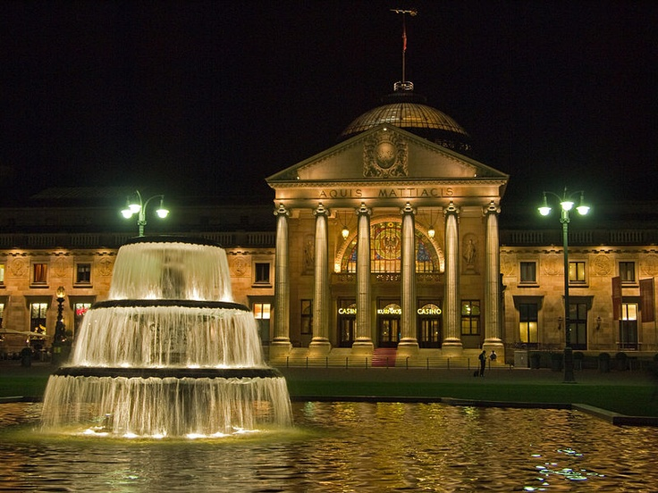 Kurhaus with Fontain on the Bowling Green - Wiesbaden Germany