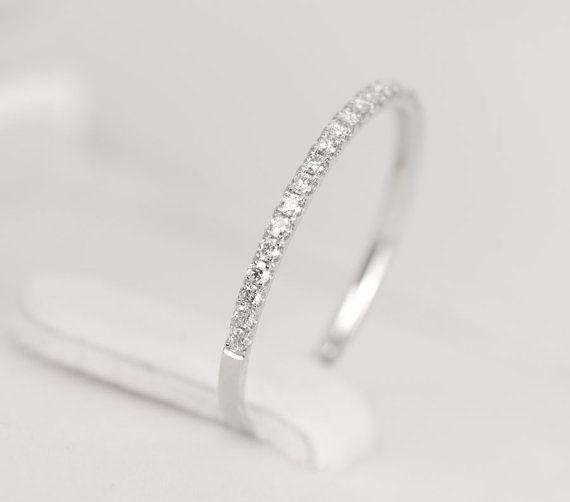 Diamond Wedding Band 14K White Gold  SALE by SundariGems on Etsy, $350.00