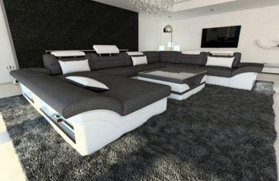 Sofa Dreams Berlin Stoff Wohnlandschaft ENZO XXL LED U Form Jetzt Bestellen Unter Moebelladendirektde Wohnzimmer Sofas Wohnlandschaften Uid