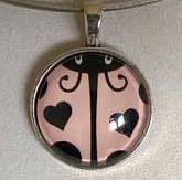 Ladybug pendant necklace  ladybug glass pendant pink and