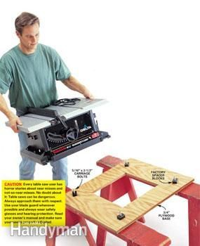 Plywood base for sawhorses and table saw: safer and sturdier, saves space compared to a dedicated table.