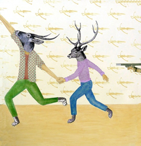 Claude Jones, 'Wild Game', 2011, acrylic, screenprint, collage and pencil on canvas, 138 x 128cm