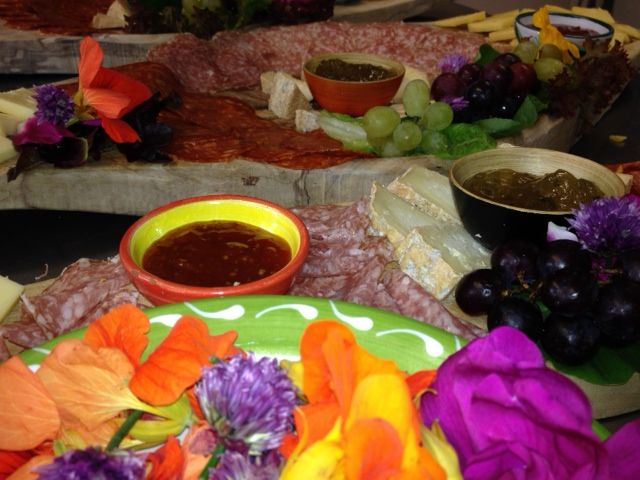 tasting plate with edible flowers