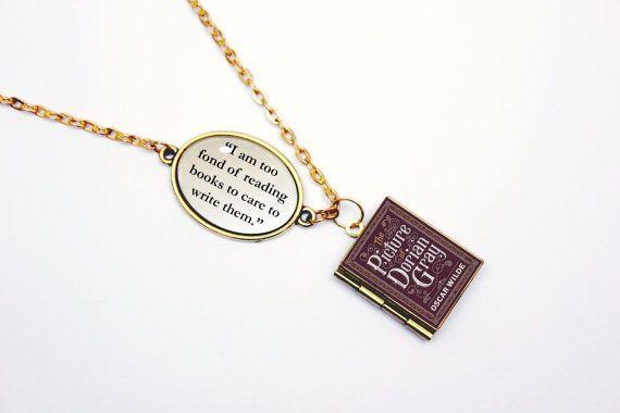 """Ketting van Dorian Gray van Oscar Wilde """"Too dol op boeken om ze op te schrijven"""" boek citeren medaillon charme / armband sieraden juwelen"""