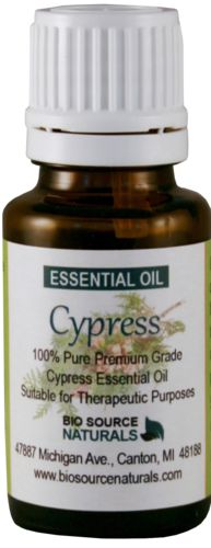 Cypress Pure Essential Oil 1 fl. oz / 30 ml, $22.85. Odor: Sweet-balsamic smoky, warm, spicy. Helpful for loss, grief and difficult transitions. Soothing and positive. Blend with rose oil for a blend that assists in grieving and outgrowing sadness. Diffuse Cypress oil to calm the mind. Used in a soothing bath with 3 drops Cypress and 3 drops French Lavender will help distress. Aromatherapy for ALS (Lou Gehrig's)